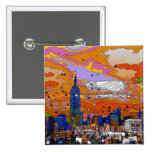 Psychedelic NYC Empire State Building & Skyline A1 2 Inch Square Button