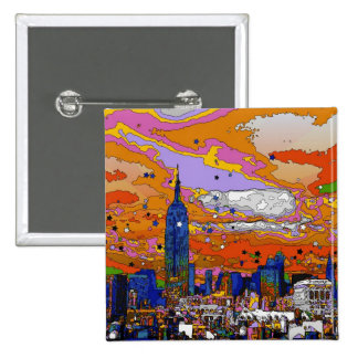 Psychedelic NYC Empire State Building & Skyline A1 Pins