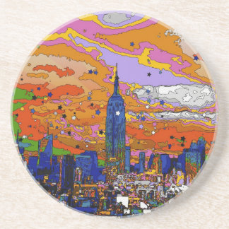 Psychedelic NYC Empire State Building & Skyline A1 Drink Coasters