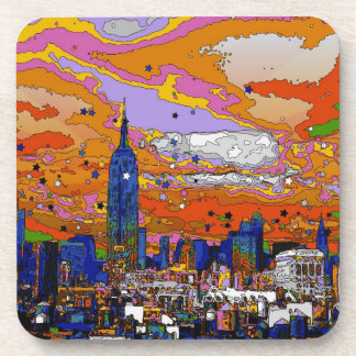 Psychedelic NYC Empire State Building & Skyline A1 Beverage Coasters