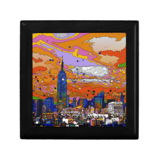 Psychedelic NYC Empire State Building & Skyline A1 Keepsake Boxes