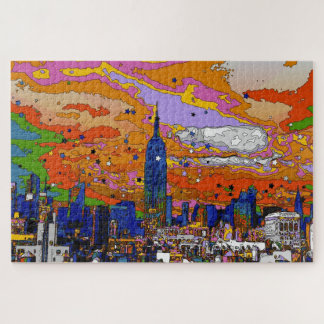 Psychedelic NYC Empire State Building & Skyline A1 Jigsaw Puzzle