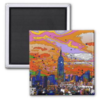 Psychedelic NYC Empire State Building & Skyline A1 2 Inch Square Magnet