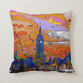 Psychedelic NYC Empire State Building & Skyline A1 Pillows