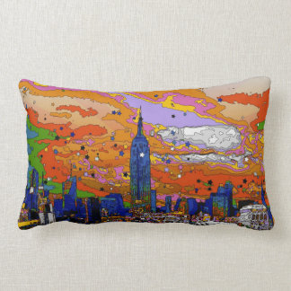 Psychedelic NYC Empire State Building & Skyline A1 Throw Pillow