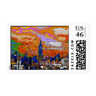 Psychedelic NYC Empire State Building Skyline A1 Stamps