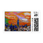 Psychedelic NYC Empire State Building & Skyline A1 Postage Stamps
