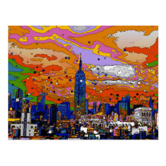 Psychedelic NYC Empire State Building & Skyline A1 Postcard