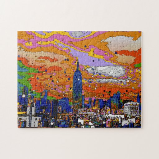 Psychedelic NYC Empire State Building & Skyline A1 Puzzles