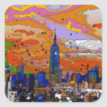Psychedelic NYC Empire State Building & Skyline A1 Square Stickers