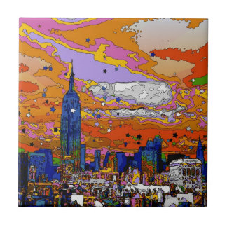 Psychedelic NYC Empire State Building & Skyline A1 Tile