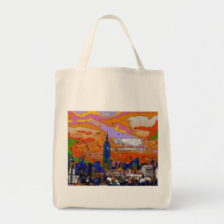 Psychedelic NYC Empire State Building & Skyline A1 Tote Bag