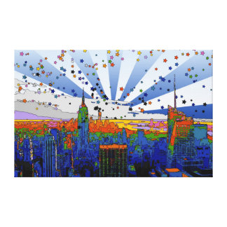 Psychedelic NYC: ESB Wide Skyline View Stretched Canvas Print
