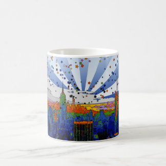 Psychedelic NYC: ESB Wide Skyline View Coffee Mug
