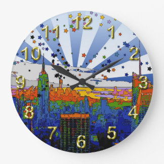 Psychedelic NYC: ESB Wide Skyline View Large Clock