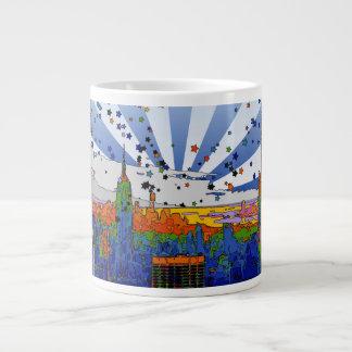 Psychedelic NYC: ESB Wide Skyline View Large Coffee Mug