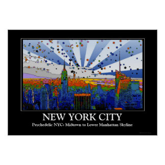 Psychedelic NYC: ESB Wide Skyline View Posters