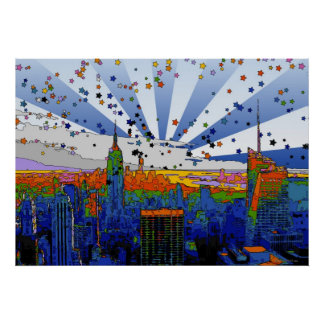 Psychedelic NYC: ESB Wide Skyline View Poster