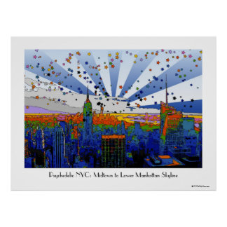 Psychedelic NYC: ESB Wide Skyline View Print