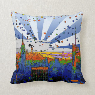 Psychedelic NYC: ESB Wide Skyline View Throw Pillow