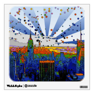 Psychedelic NYC: ESB Wide Skyline View Wall Decal