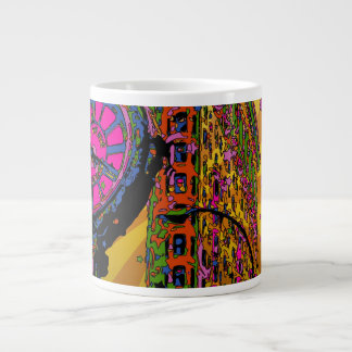 Psychedelic NYC: Flatiron Building & Clock #2B Large Coffee Mug