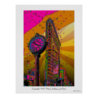 Psychedelic NYC: Flatiron Building & Clock #2B Poster