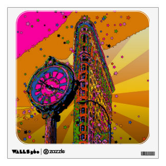 Psychedelic NYC: Flatiron Building & Clock #2B Wall Decal