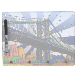 Psychedelic NYC: Manhattan Bridge #1 Dry Erase Board With Keychain Holder