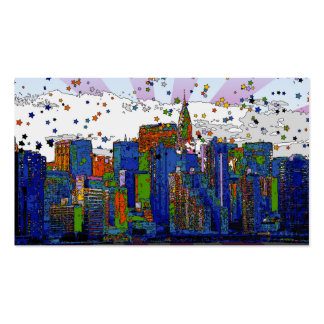 Psychedelic NYC: NYC Skyline, Chrysler Bldg Double-Sided Standard Business Cards (Pack Of 100)