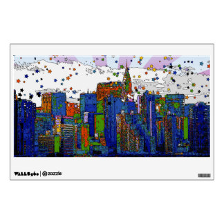 Psychedelic NYC: NYC Skyline, Chrysler Bldg Wall Stickers