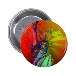 Psychedelic NYC Rainbow Color Statue of Liberty 1R Button