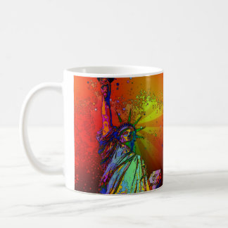 Psychedelic NYC Rainbow Color Statue of Liberty 1R Mug