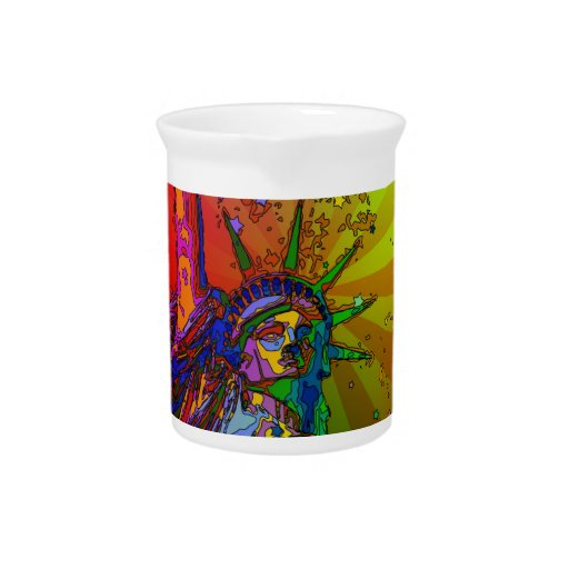 Psychedelic NYC Rainbow Color Statue of Liberty 1R Drink Pitchers
