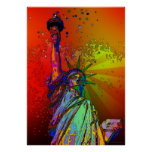 Psychedelic NYC Rainbow Color Statue of Liberty 1R Poster