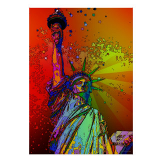 Psychedelic NYC Rainbow Color Statue of Liberty 1R Print