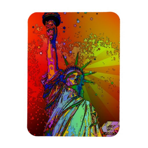 Psychedelic NYC Rainbow Color Statue of Liberty 1R Vinyl Magnets
