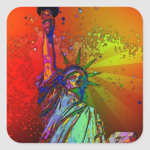 Psychedelic NYC Rainbow Color Statue of Liberty 1R Square Sticker