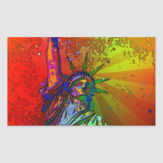 Psychedelic NYC Rainbow Color Statue of Liberty 1R Sticker