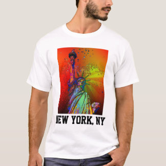 Psychedelic NYC Rainbow Color Statue of Liberty 1R T-Shirt