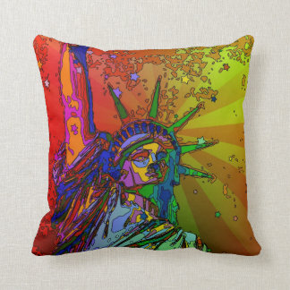 Psychedelic NYC Rainbow Color Statue of Liberty 1R Throw Pillow