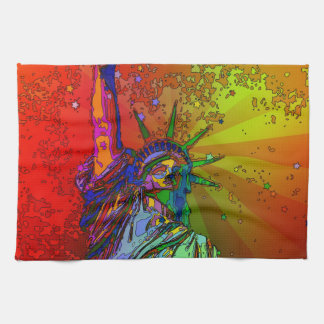 Psychedelic NYC Rainbow Color Statue of Liberty 1R Towel