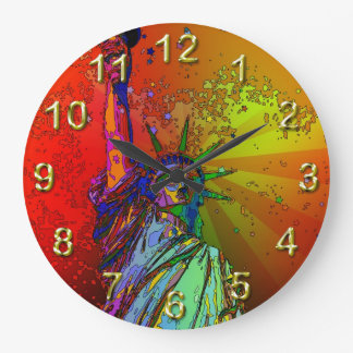 Psychedelic NYC Rainbow Color Statue of Liberty 1R Wall Clock