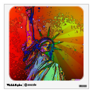 Psychedelic NYC Rainbow Color Statue of Liberty 1R Wall Sticker