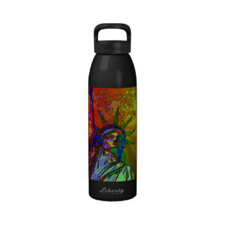 Psychedelic NYC Rainbow Color Statue of Liberty 1R Drinking Bottles