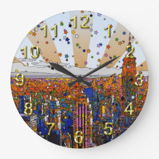 Psychedelic NYC Skyline: ESB, WTC #1 Large Clock