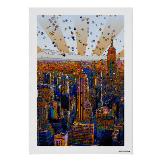 Psychedelic NYC Skyline: ESB, WTC #1 Posters