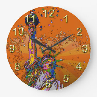 Psychedelic NYC: Statue of Liberty 001 Wallclocks