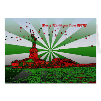 Psychedelic NYC: Statue of Liberty Christmas NF Greeting Card