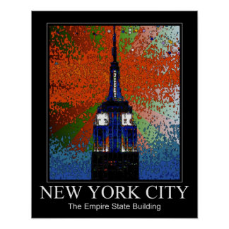 Psychedelic NYC Top of Empire State Building 2C Posters